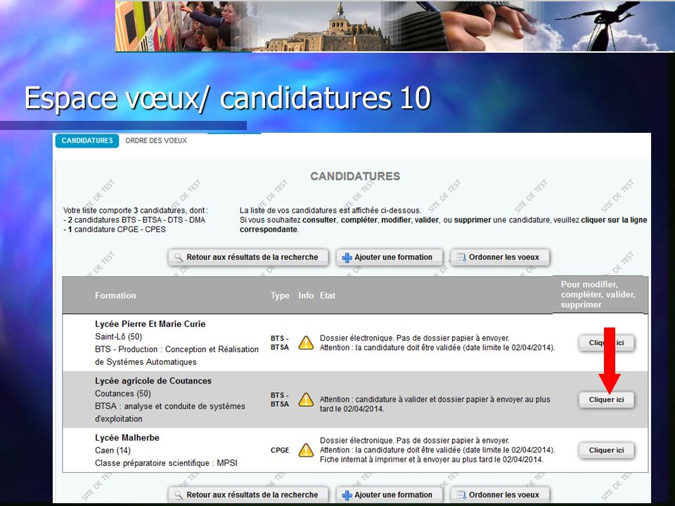 Espace vœux/ candidatures 10