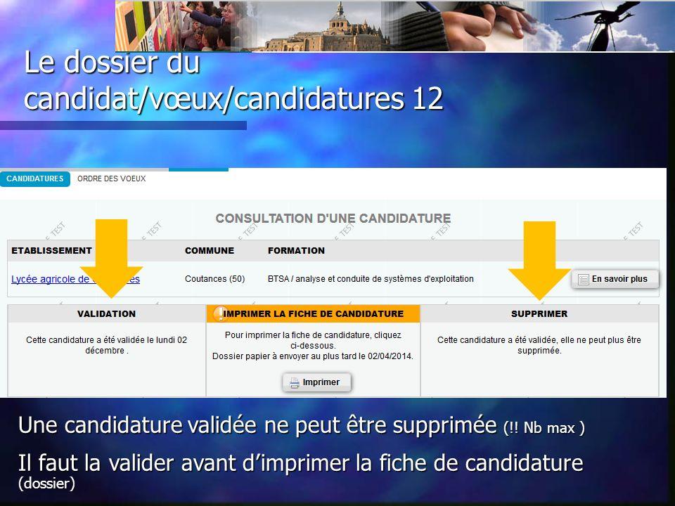 Le dossier du candidat/vœux/candidatures 12 Une candidature validée ne peut être supprimée (!.