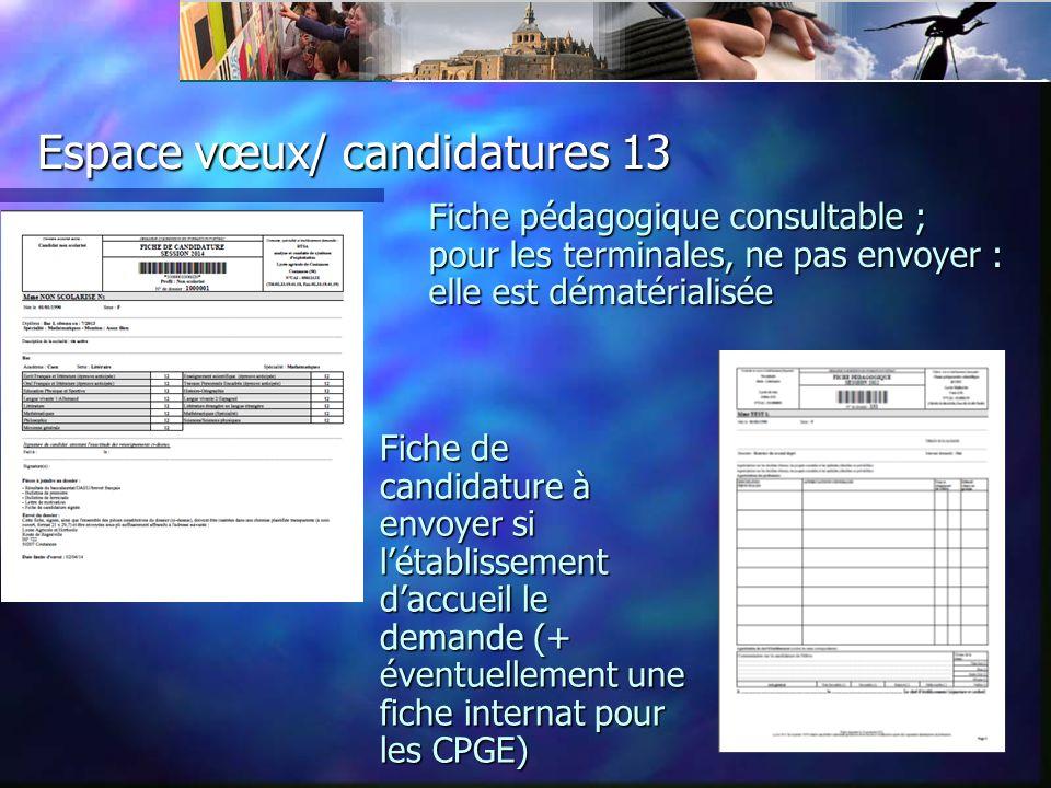 Espace vœux/ candidatures 13 Fiche pédagogique consultable ; pour les terminales, ne pas envoyer : elle est dématérialisée Fiche de candidature à envoyer si létablissement daccueil le demande (+ éventuellement une fiche internat pour les CPGE)