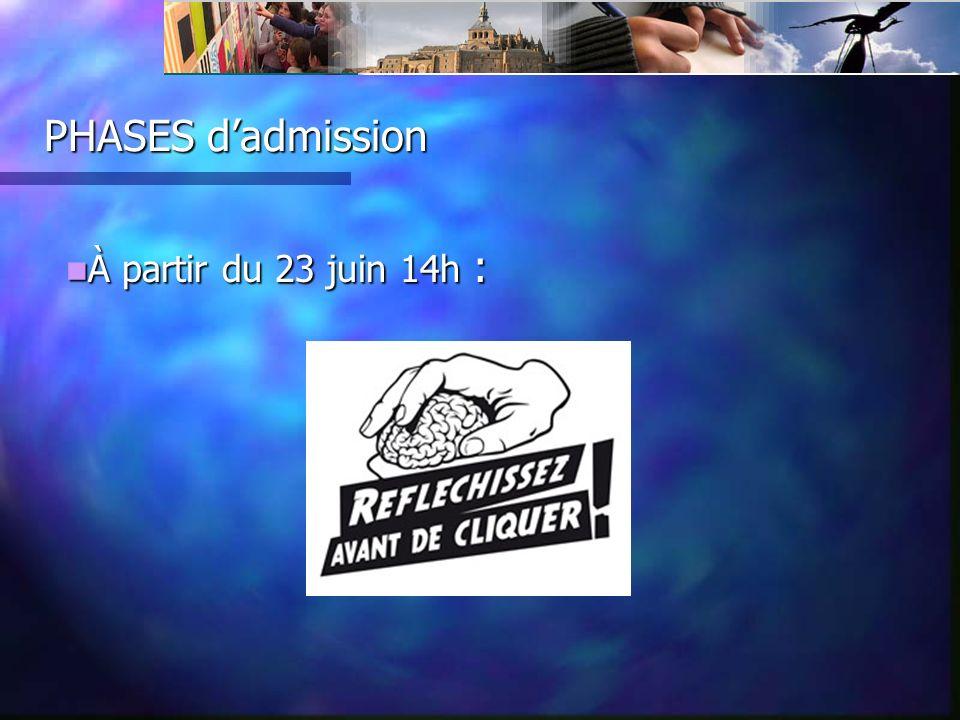PHASES dadmission À partir du 23 juin 14h : À partir du 23 juin 14h :