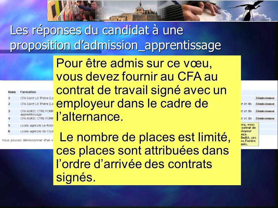 Les réponses du candidat à une proposition dadmission_apprentissage Pour être admis sur ce vœu, vous devez fournir au CFA au contrat de travail signé avec un employeur dans le cadre de lalternance.