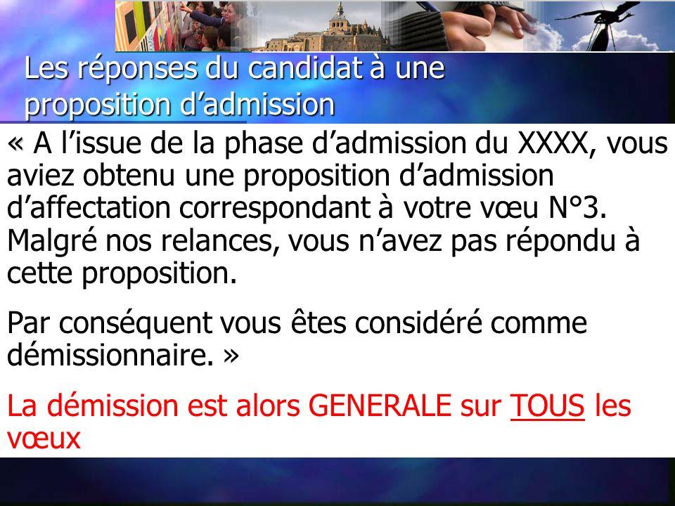 Les réponses du candidat à une proposition dadmission « « A lissue de la phase dadmission du XXXX, vous aviez obtenu une proposition dadmission daffectation correspondant à votre vœu N°3.