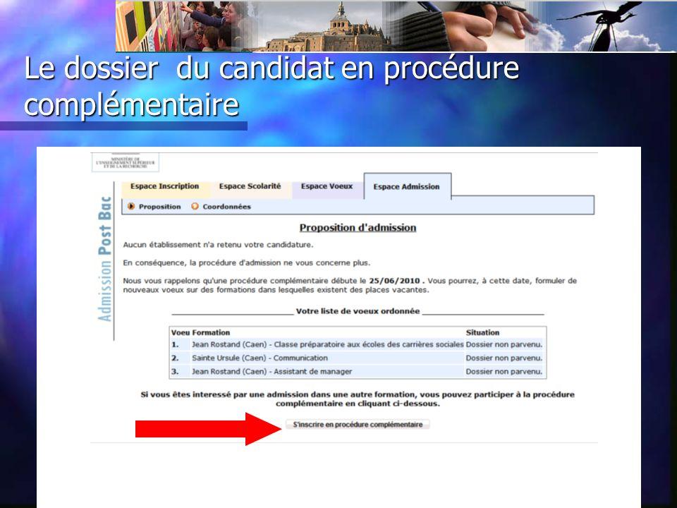 Le dossier du candidat en procédure complémentaire