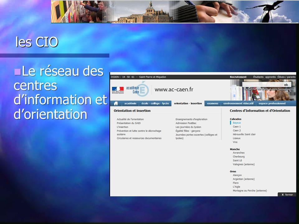 les CIO les CIO Le réseau des centres dinformation et dorientation Le réseau des centres dinformation et dorientation