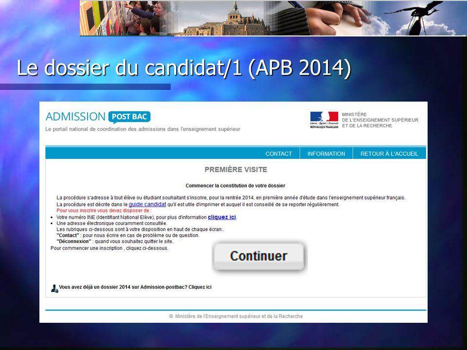 Le dossier du candidat/1 (APB 2014)