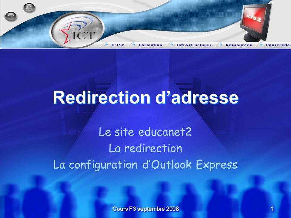 Cours F3 septembre 2008 1 1 Redirection dadresse Le site educanet2 La redirection La configuration dOutlook Express