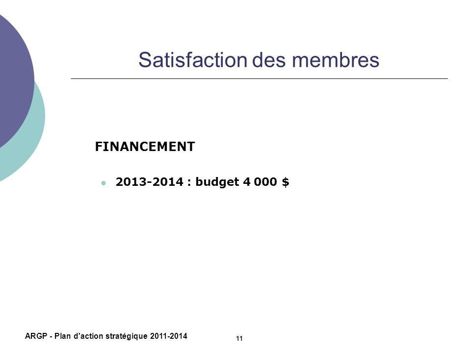 Satisfaction des membres FINANCEMENT 2013-2014 : budget 4 000 $ ARGP - Plan d'action stratégique 2011-2014 11