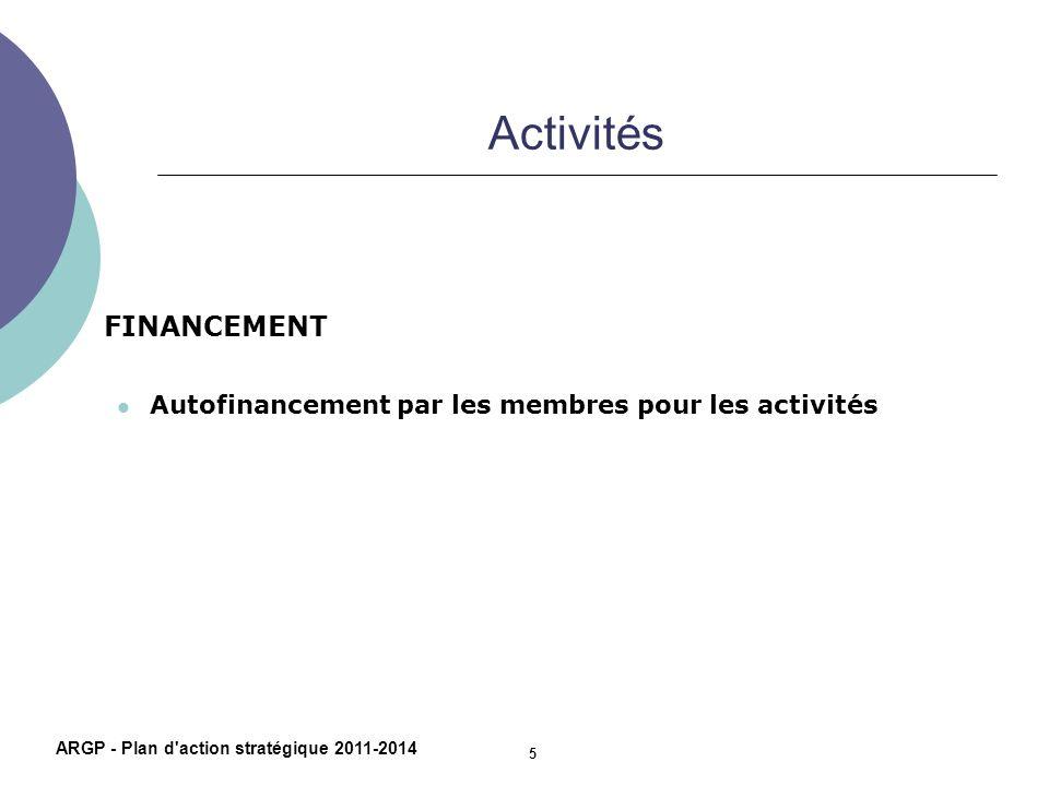 Activités FINANCEMENT Autofinancement par les membres pour les activités ARGP - Plan d'action stratégique 2011-2014 5