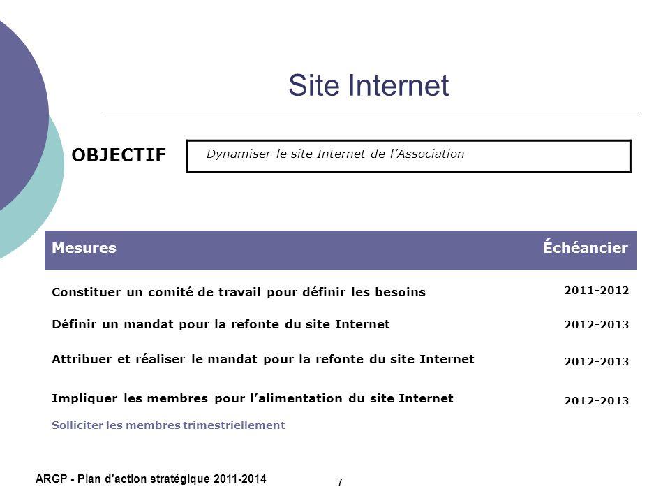 Site Internet OBJECTIF MesuresÉchéancier Constituer un comité de travail pour définir les besoins 2011-2012 Définir un mandat pour la refonte du site