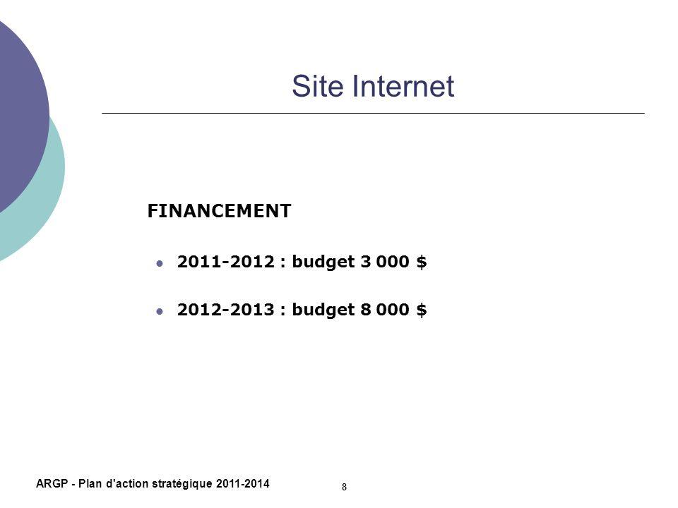 Site Internet FINANCEMENT 2011-2012 : budget 3 000 $ 2012-2013 : budget 8 000 $ ARGP - Plan d'action stratégique 2011-2014 8