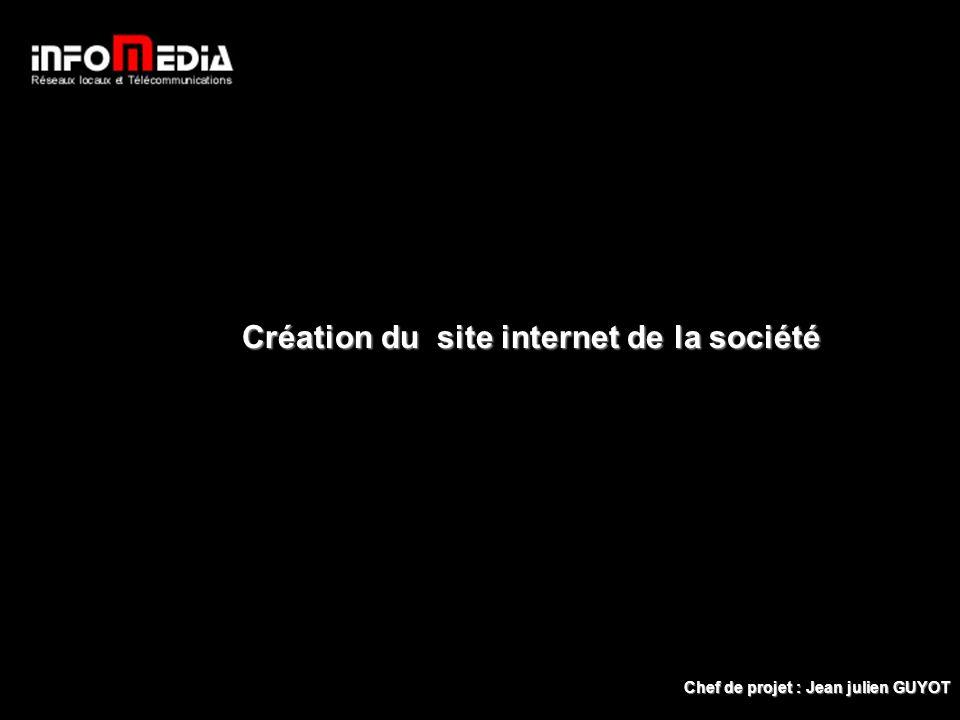 Création du site internet de la société Accueil Chef de projet : Jean julien GUYOT