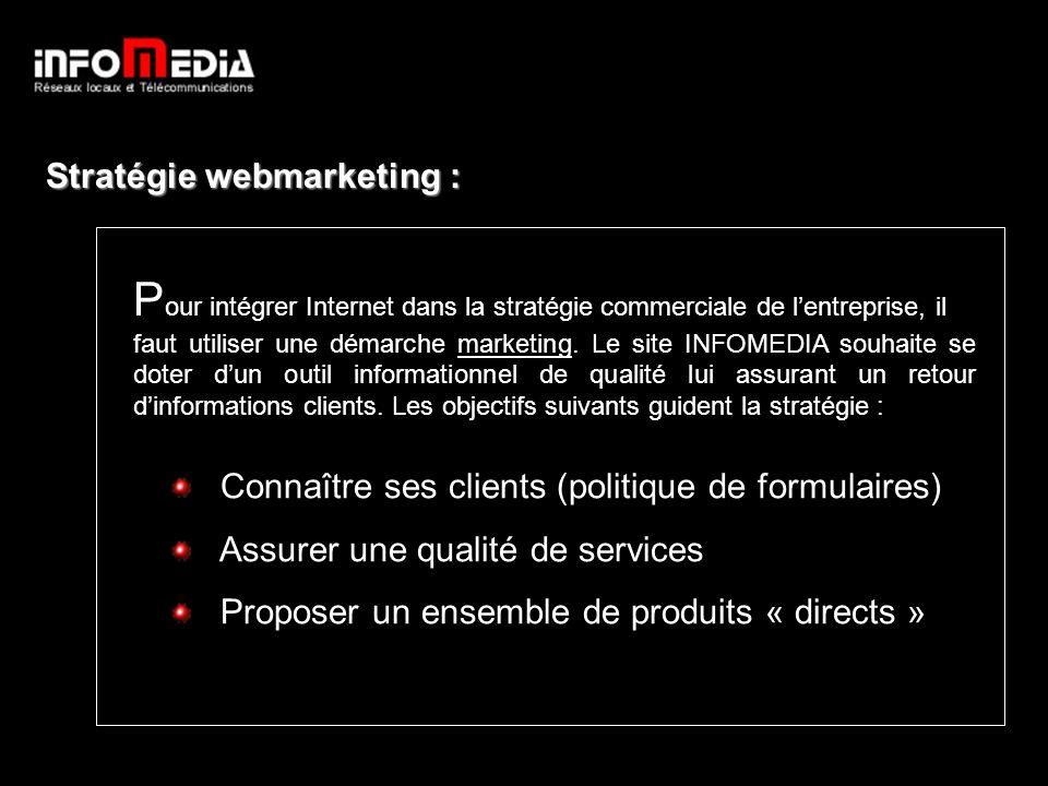 Stratégie webmarketing : P our intégrer Internet dans la stratégie commerciale de lentreprise, il faut utiliser une démarche marketing.