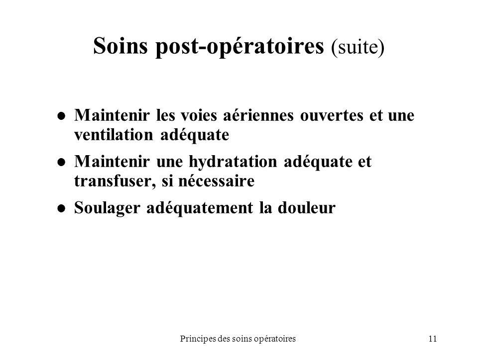 11Principes des soins opératoires Soins post-opératoires (suite) Maintenir les voies aériennes ouvertes et une ventilation adéquate Maintenir une hydr