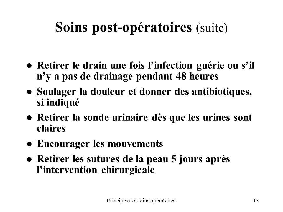 13Principes des soins opératoires Soins post-opératoires (suite) Retirer le drain une fois linfection guérie ou sil ny a pas de drainage pendant 48 he