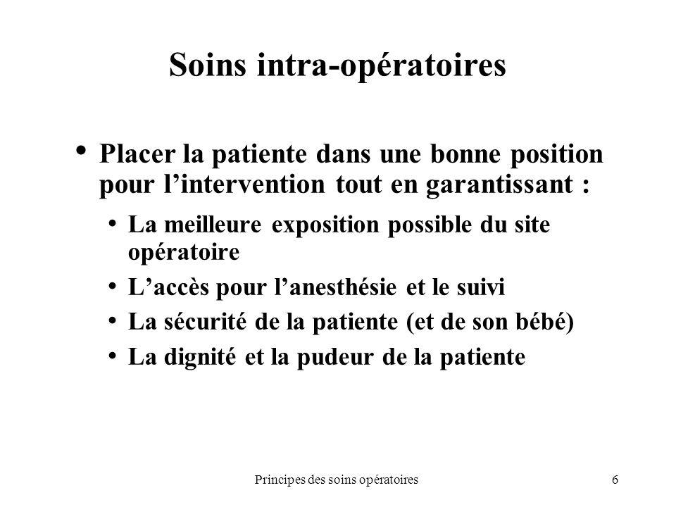 6Principes des soins opératoires Soins intra-opératoires Placer la patiente dans une bonne position pour lintervention tout en garantissant : La meill