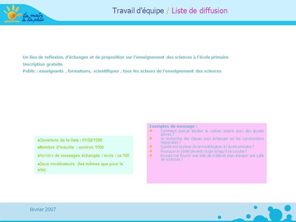 février 2007 Travail déquipe / Liste de diffusion Un lieu de reflexion, déchanges et de proposition sur lenseignement des sciences à lécole primaire I