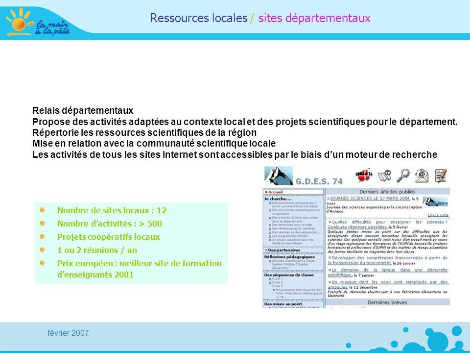 février 2007 Ressources locales / sites départementaux Nombre de sites locaux : 12 Nombre dactivités : > 500 Projets coopératifs locaux 1 ou 2 réunion