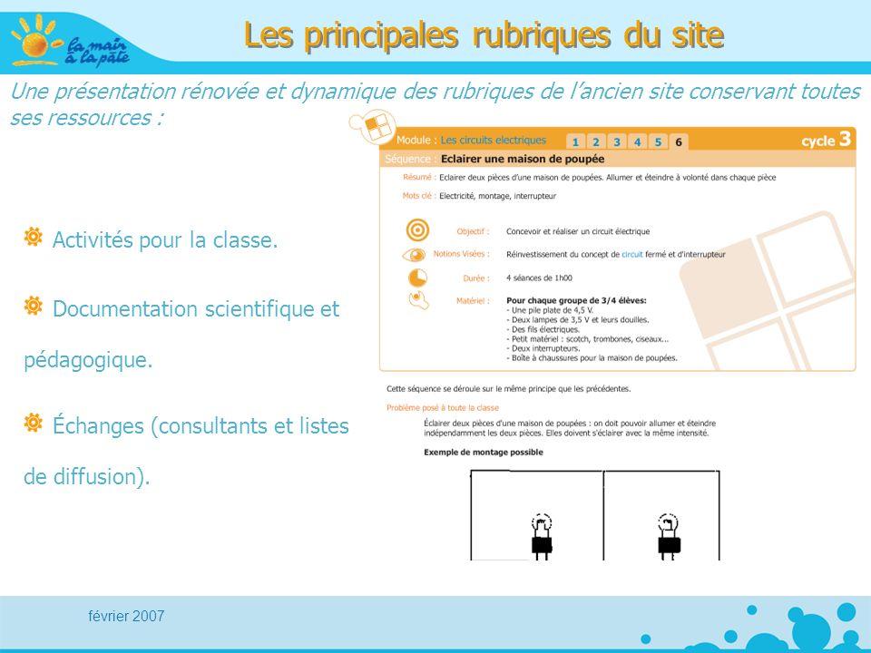 février 2007 Les principales rubriques du site Activités pour la classe.