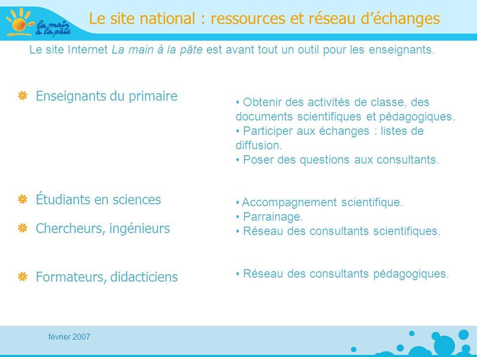 février 2007 Le site national : ressources et réseau déchanges Enseignants du primaire Étudiants en sciences Chercheurs, ingénieurs Formateurs, didact