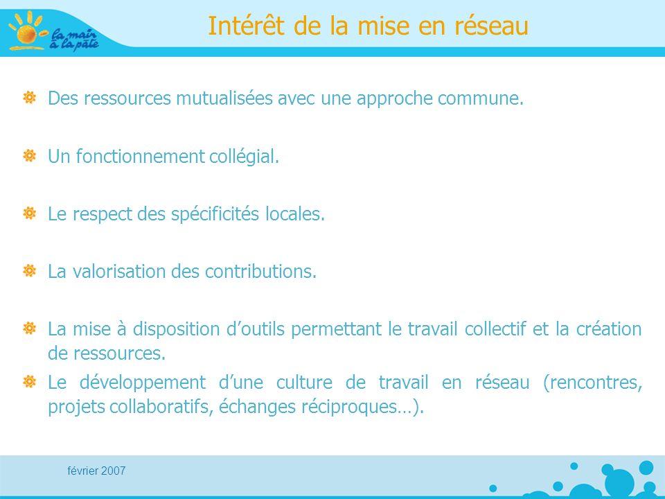 février 2007 Intérêt de la mise en réseau Des ressources mutualisées avec une approche commune. Un fonctionnement collégial. Le respect des spécificit