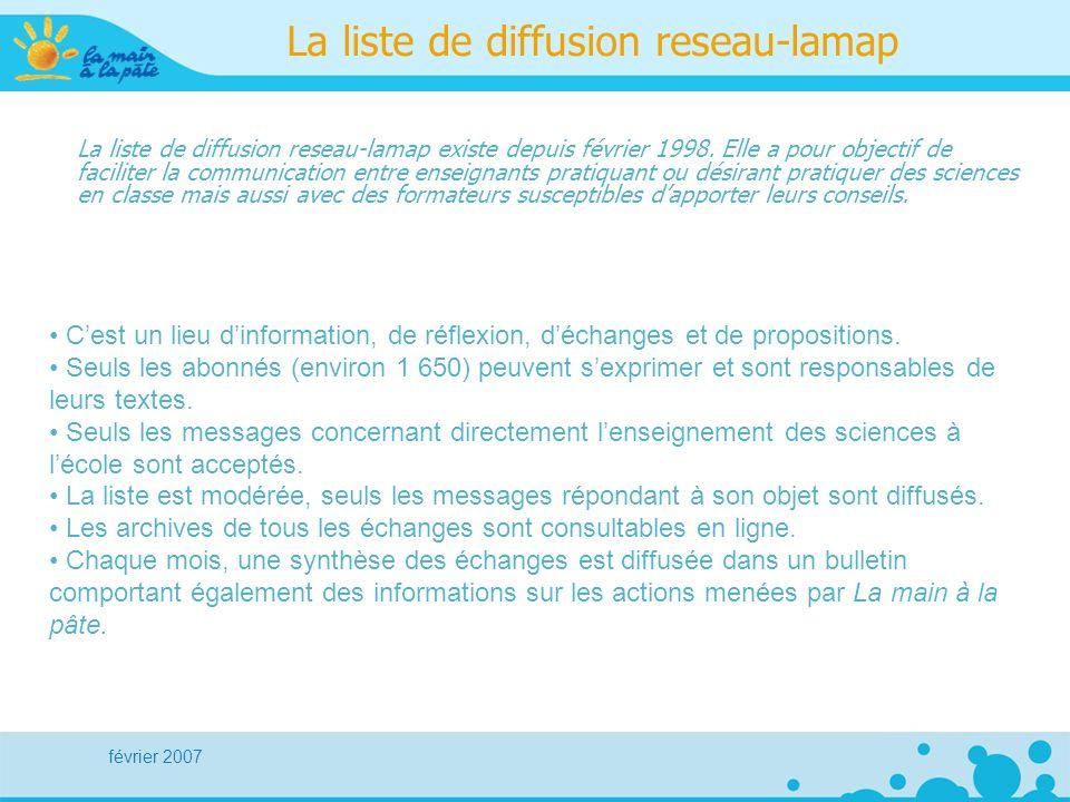 février 2007 La liste de diffusion reseau-lamap La liste de diffusion reseau-lamap existe depuis février 1998.