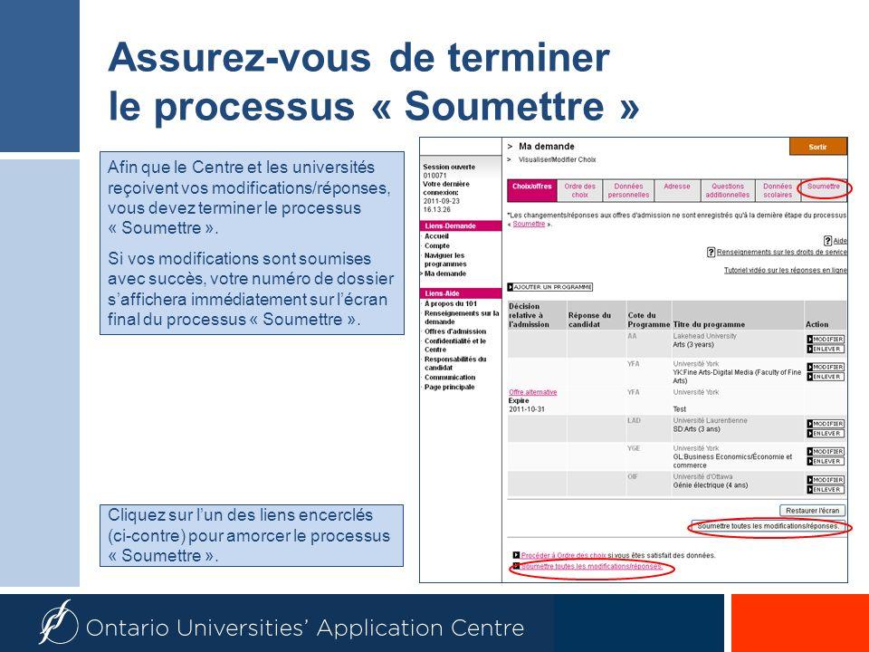 Assurez-vous de terminer le processus « Soumettre » Cliquez sur lun des liens encerclés (ci-contre) pour amorcer le processus « Soumettre ».