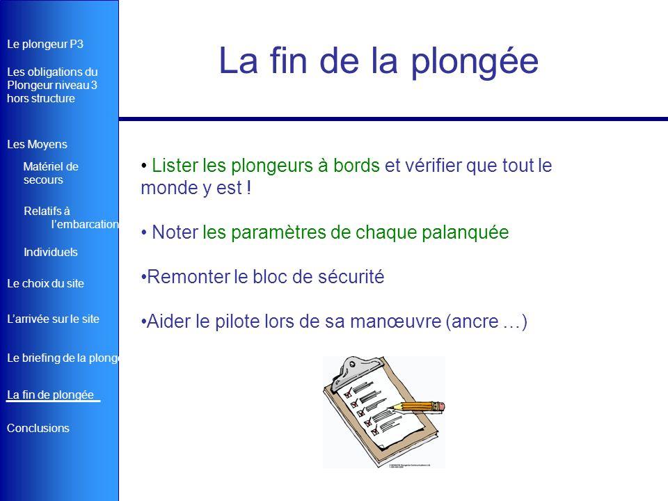 Le plongeur P3 Matériel de secours Les obligations du Plongeur niveau 3 hors structure Le briefing de la plongée Le choix du site Larrivée sur le site