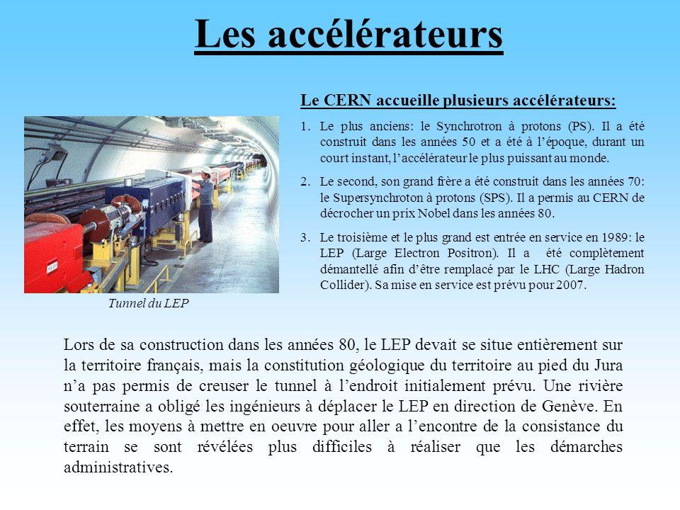 Les accélérateurs Le CERN accueille plusieurs accélérateurs: 1.Le plus anciens: le Synchrotron à protons (PS).