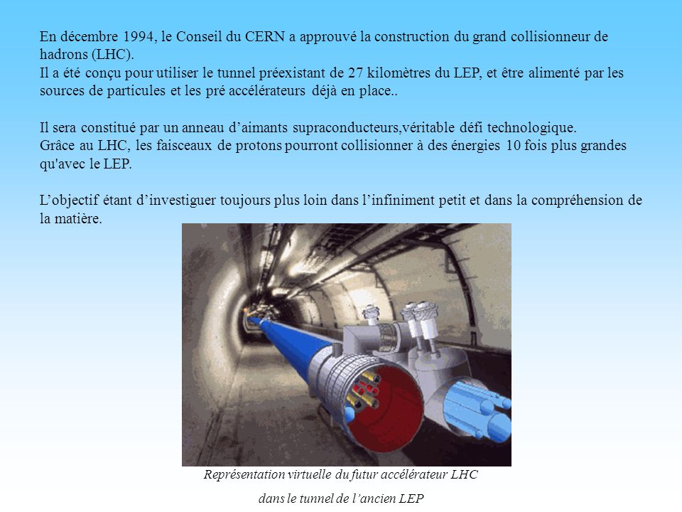 En décembre 1994, le Conseil du CERN a approuvé la construction du grand collisionneur de hadrons (LHC).