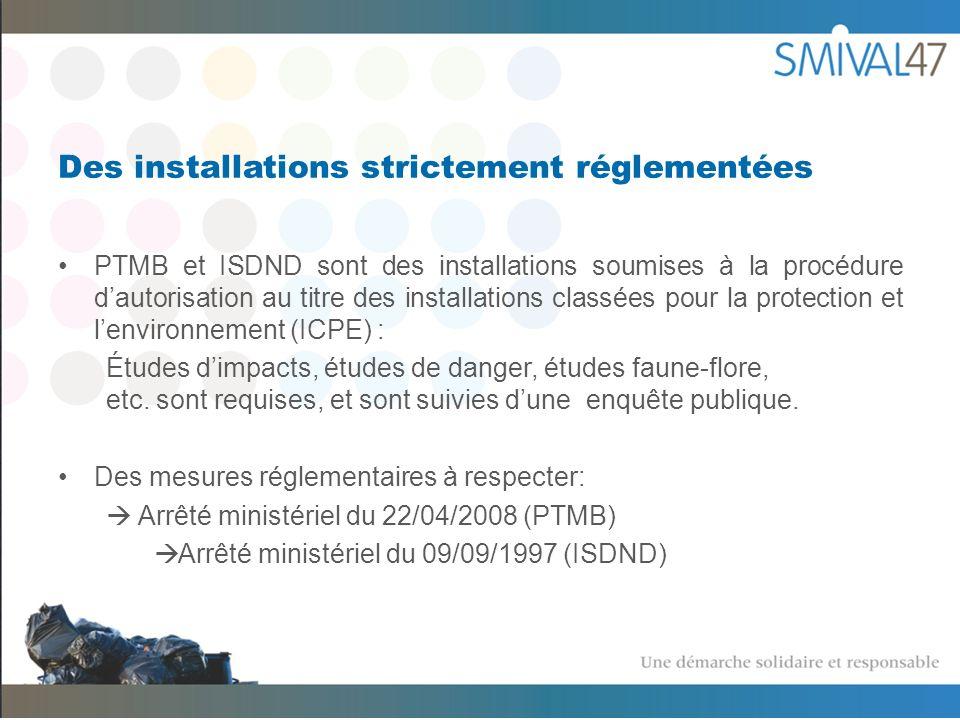 Des installations strictement réglementées PTMB et ISDND sont des installations soumises à la procédure dautorisation au titre des installations classées pour la protection et lenvironnement (ICPE) : Études dimpacts, études de danger, études faune-flore, etc.