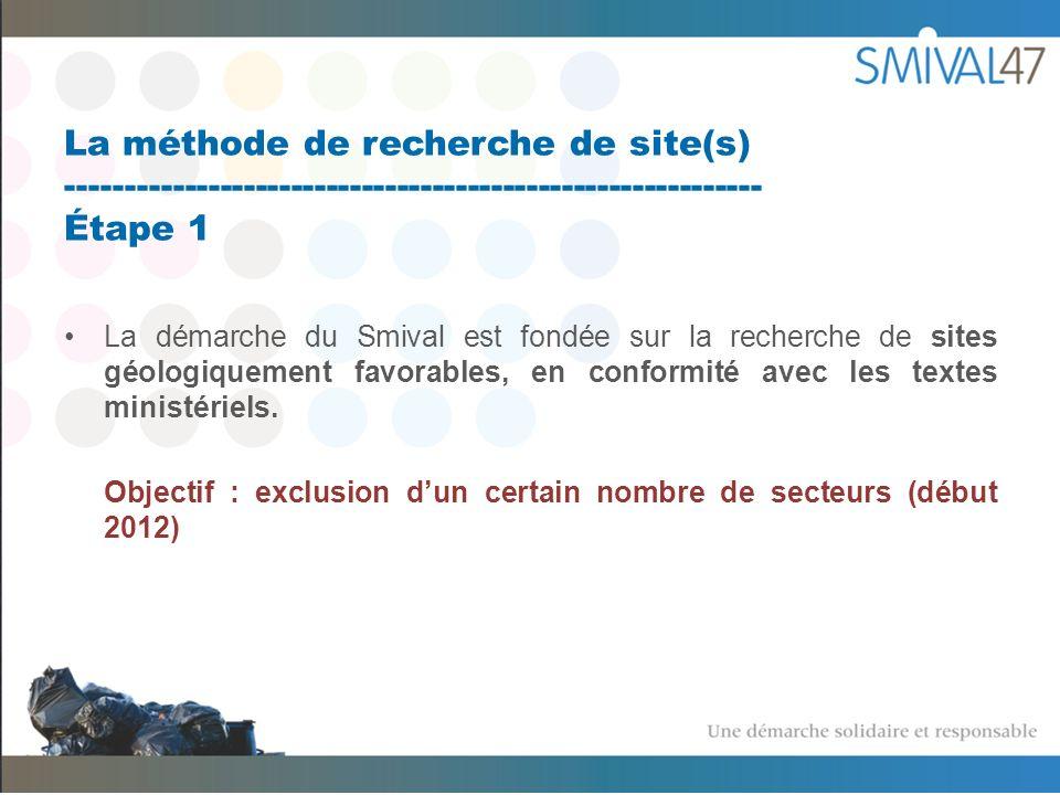 La méthode de recherche de site(s) ----------------------------------------------------------- Étape 1 La démarche du Smival est fondée sur la recherche de sites géologiquement favorables, en conformité avec les textes ministériels.