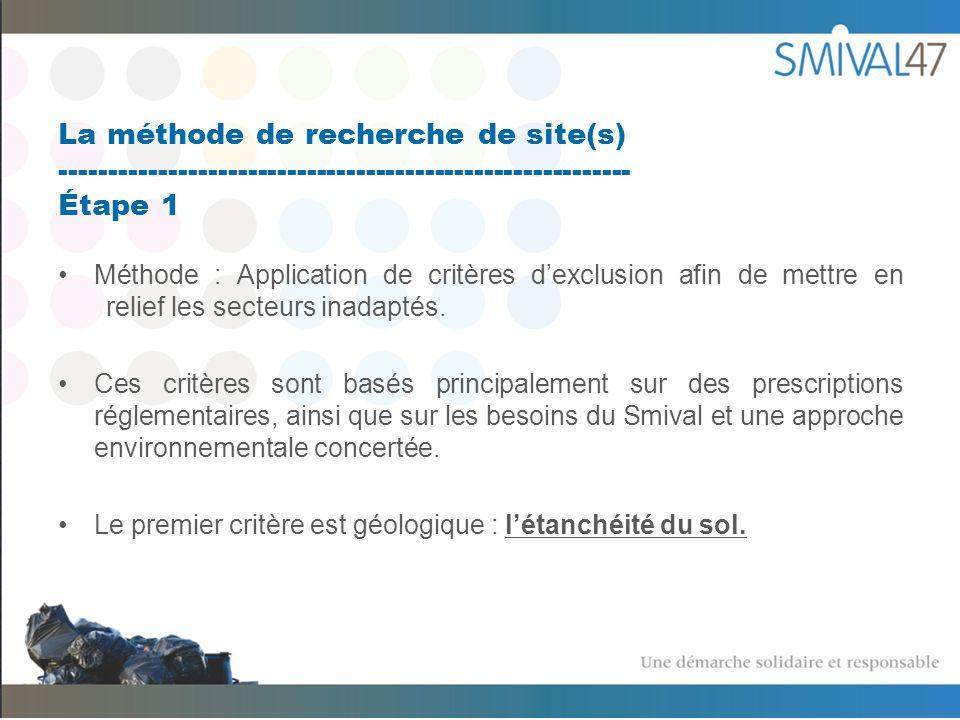 La méthode de recherche de site(s) ---------------------------------------------------------- Étape 1 Méthode : Application de critères dexclusion afin de mettre en relief les secteurs inadaptés.