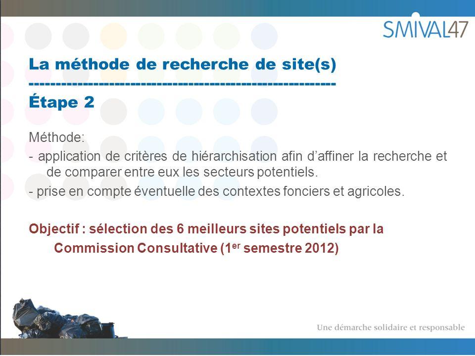 La méthode de recherche de site(s) ---------------------------------------------------------- Étape 2 Méthode: - application de critères de hiérarchisation afin daffiner la recherche et de comparer entre eux les secteurs potentiels.