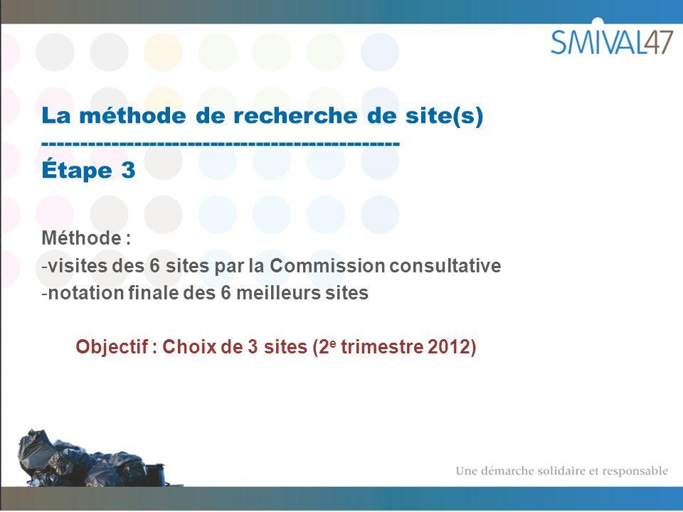 La méthode de recherche de site(s) ----------------------------------------------- Étape 3 Méthode : -visites des 6 sites par la Commission consultative -notation finale des 6 meilleurs sites Objectif : Choix de 3 sites (2 e trimestre 2012)