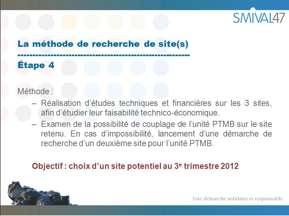 La méthode de recherche de site(s) ---------------------------------------------------------- Étape 4 Méthode : –Réalisation détudes techniques et financières sur les 3 sites, afin détudier leur faisabilité technico-économique.