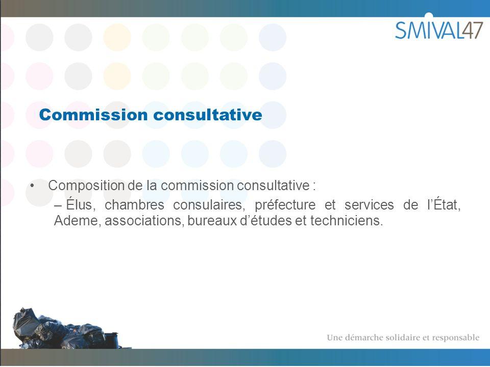Commission consultative Composition de la commission consultative : – Élus, chambres consulaires, préfecture et services de lÉtat, Ademe, associations, bureaux détudes et techniciens.