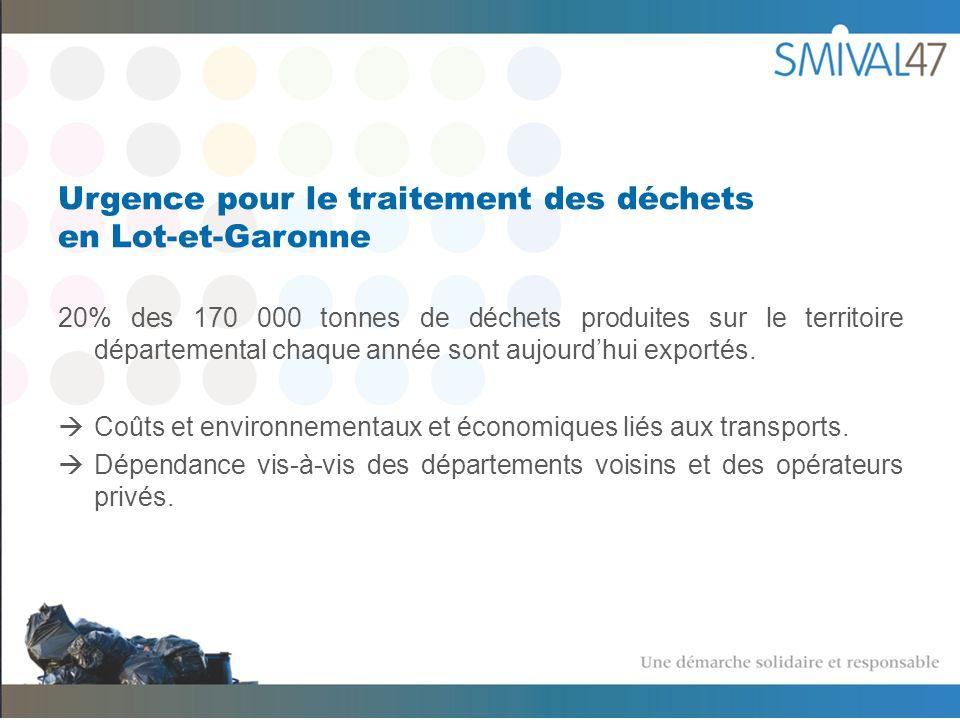 Urgence pour le traitement des déchets en Lot-et-Garonne 20% des 170 000 tonnes de déchets produites sur le territoire départemental chaque année sont aujourdhui exportés.