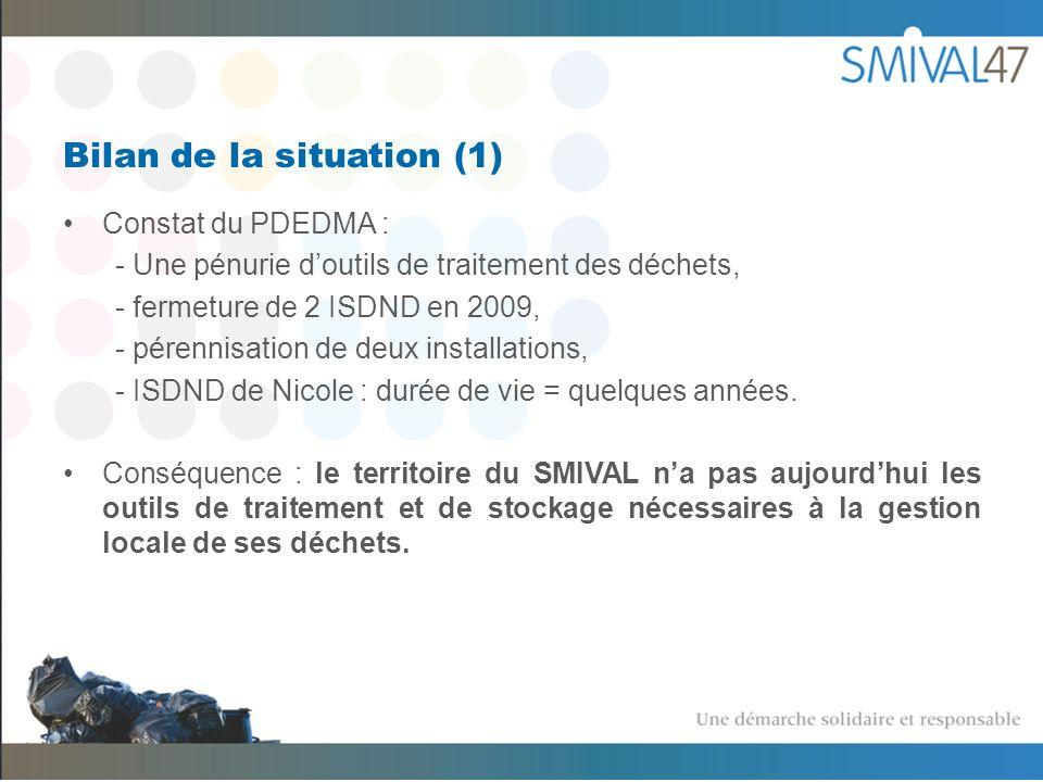 Bilan de la situation (1) Constat du PDEDMA : - Une pénurie doutils de traitement des déchets, - fermeture de 2 ISDND en 2009, - pérennisation de deux installations, - ISDND de Nicole : durée de vie = quelques années.