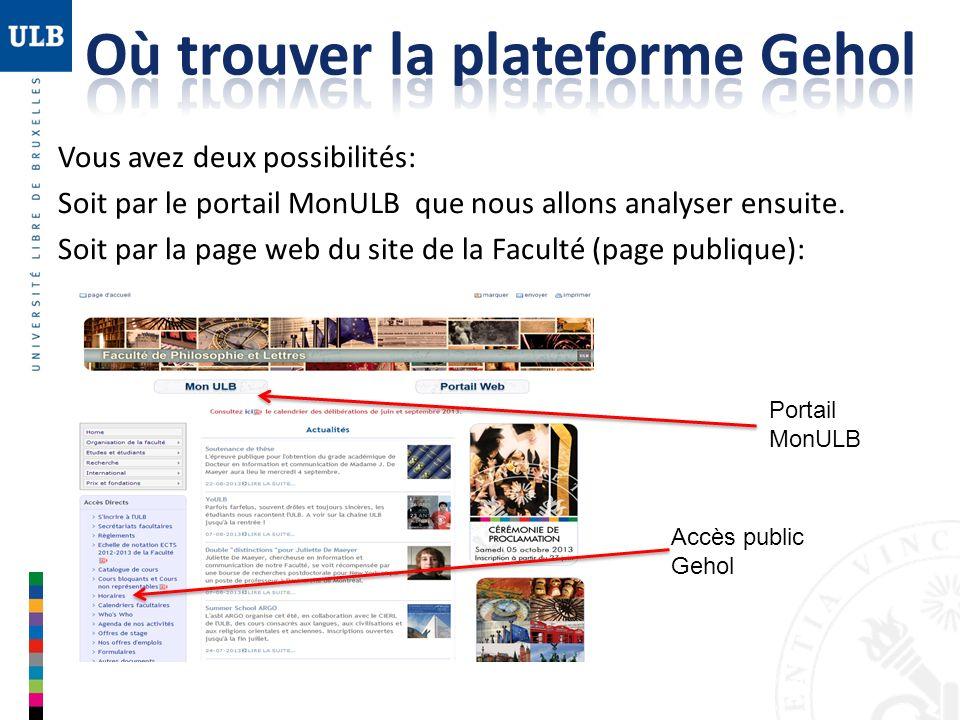 Vous avez deux possibilités: Soit par le portail MonULB que nous allons analyser ensuite. Soit par la page web du site de la Faculté (page publique):