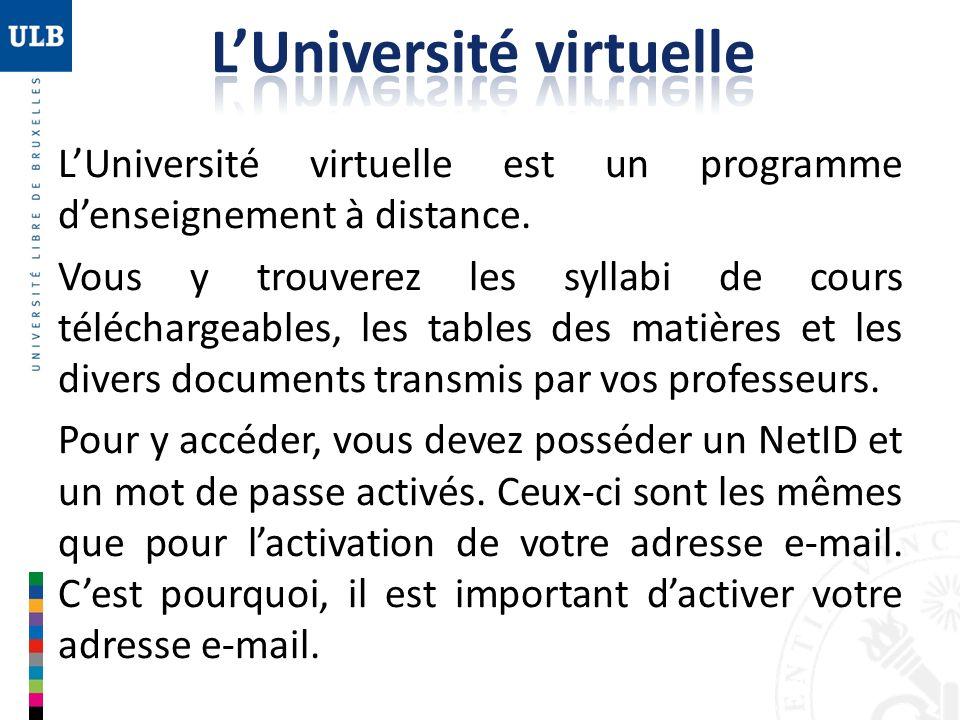 LUniversité virtuelle est un programme denseignement à distance. Vous y trouverez les syllabi de cours téléchargeables, les tables des matières et les