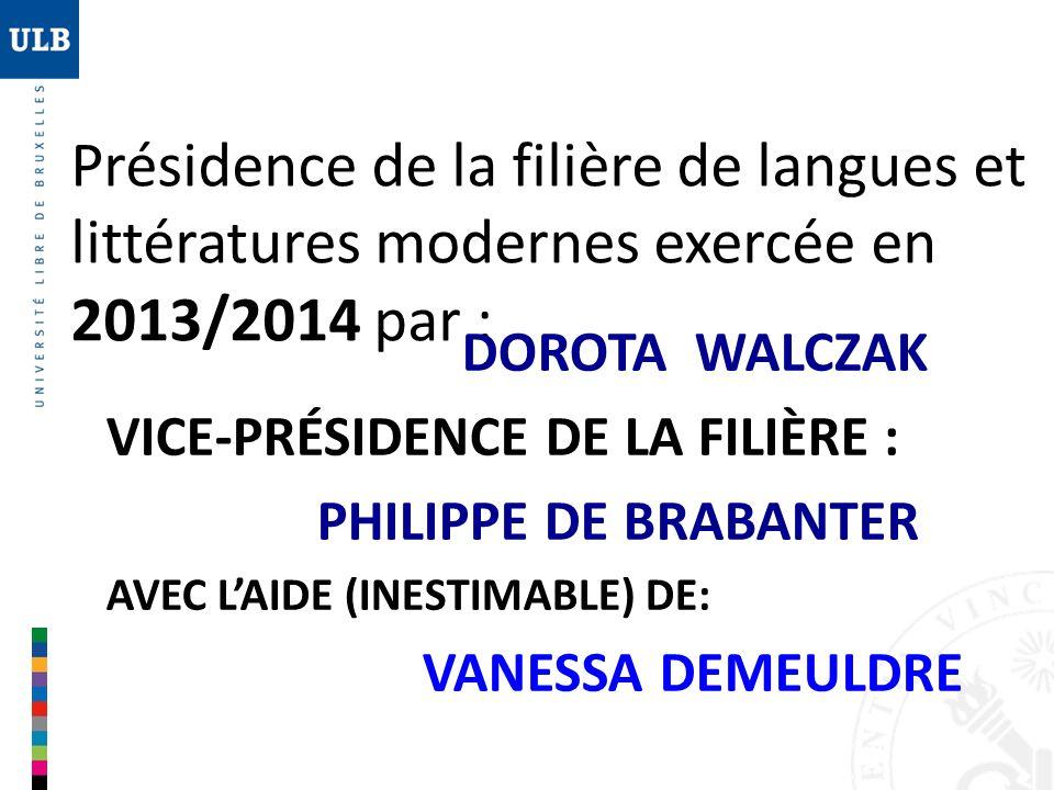 Présidence de la filière de langues et littératures modernes exercée en 2013/2014 par : DOROTA WALCZAK VICE-PRÉSIDENCE DE LA FILIÈRE : PHILIPPE DE BRA
