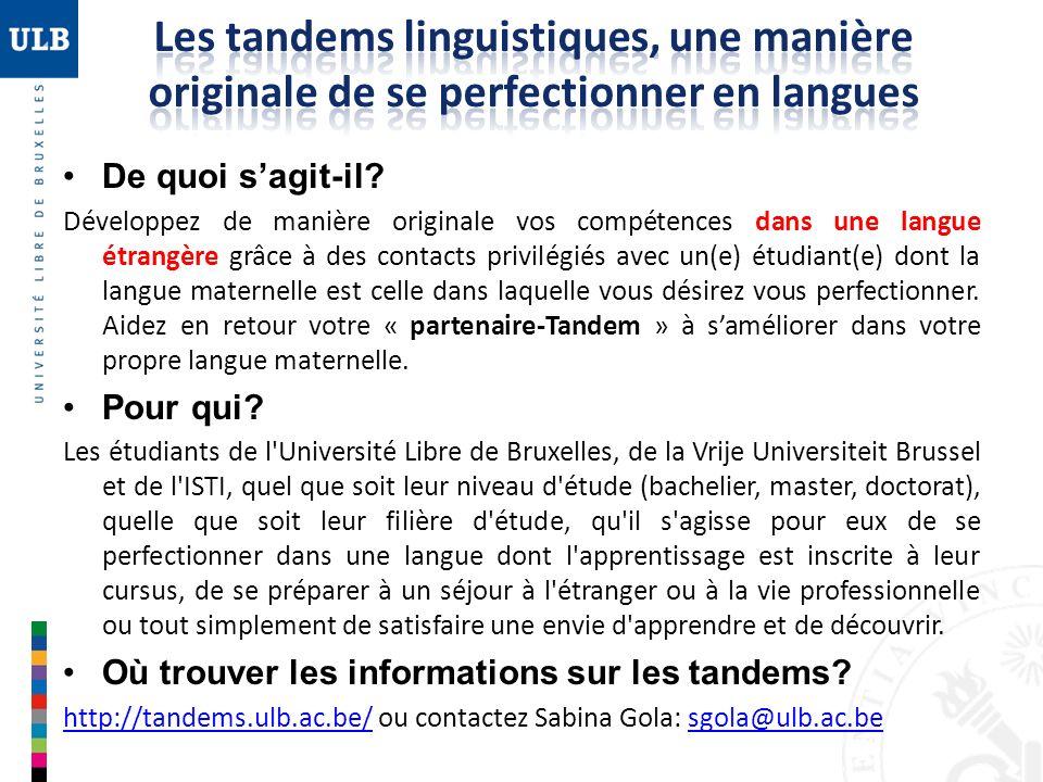 De quoi sagit-il? Développez de manière originale vos compétences dans une langue étrangère grâce à des contacts privilégiés avec un(e) étudiant(e) do