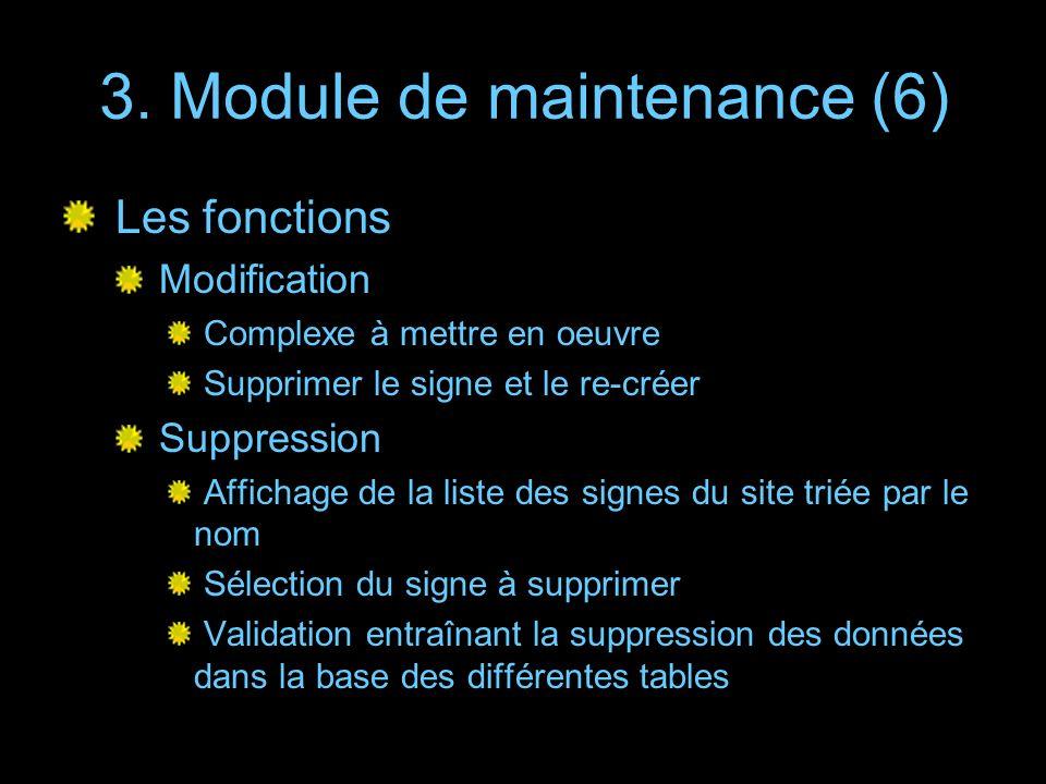3. Module de maintenance (6) Les fonctions Modification Complexe à mettre en oeuvre Supprimer le signe et le re-créer Suppression Affichage de la list