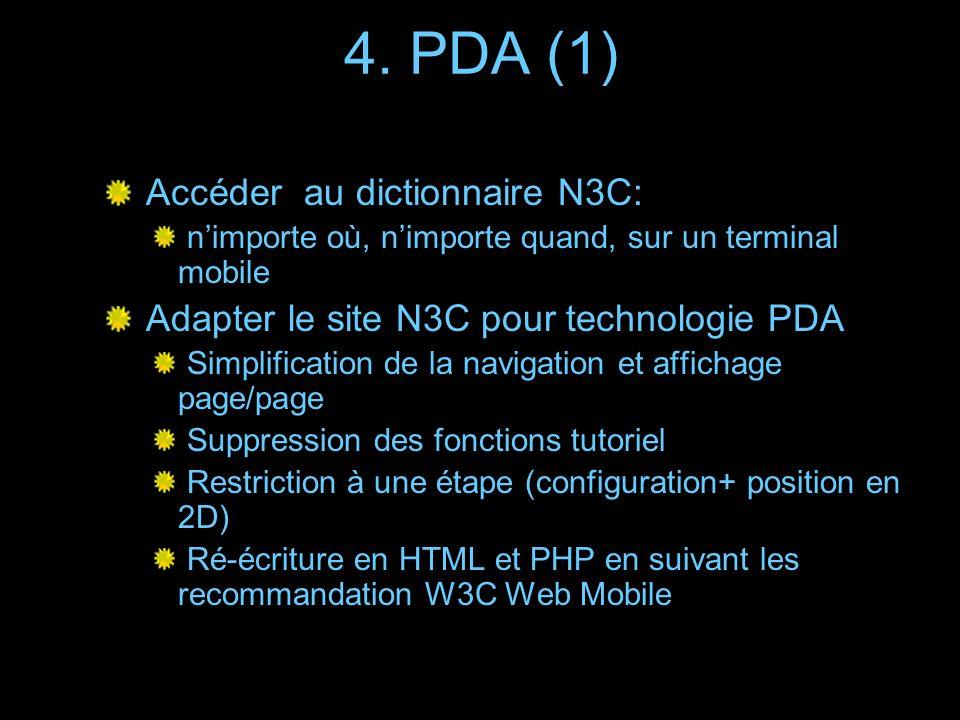 4. PDA (1) Accéder au dictionnaire N3C: nimporte où, nimporte quand, sur un terminal mobile Adapter le site N3C pour technologie PDA Simplification de