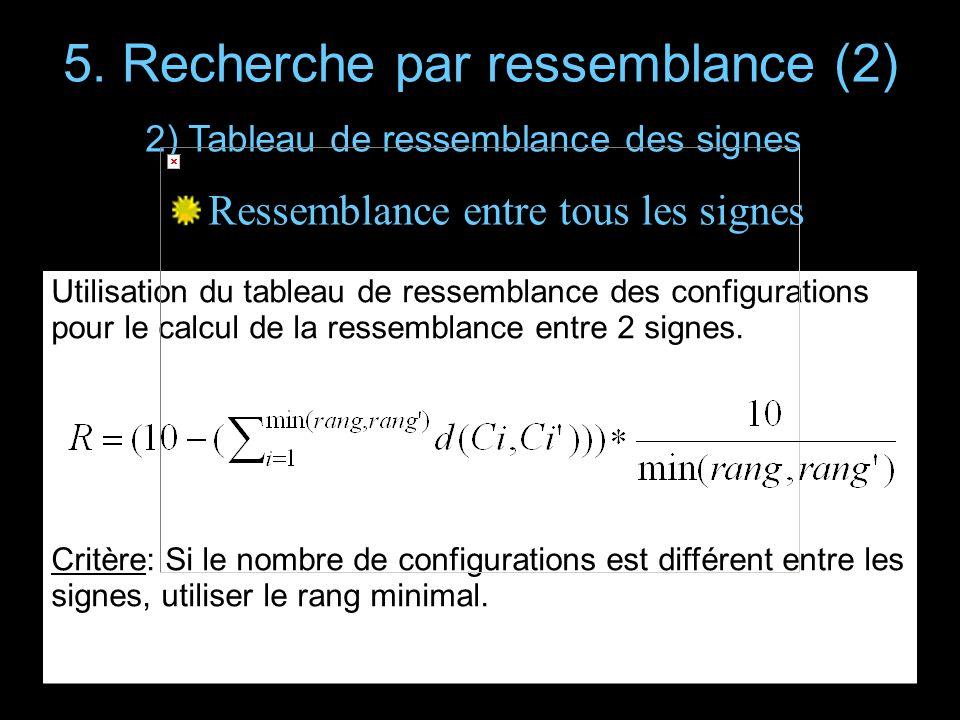 5. Recherche par ressemblance (2) Ressemblance entre tous les signes Utilisation du tableau de ressemblance des configurations pour le calcul de la re
