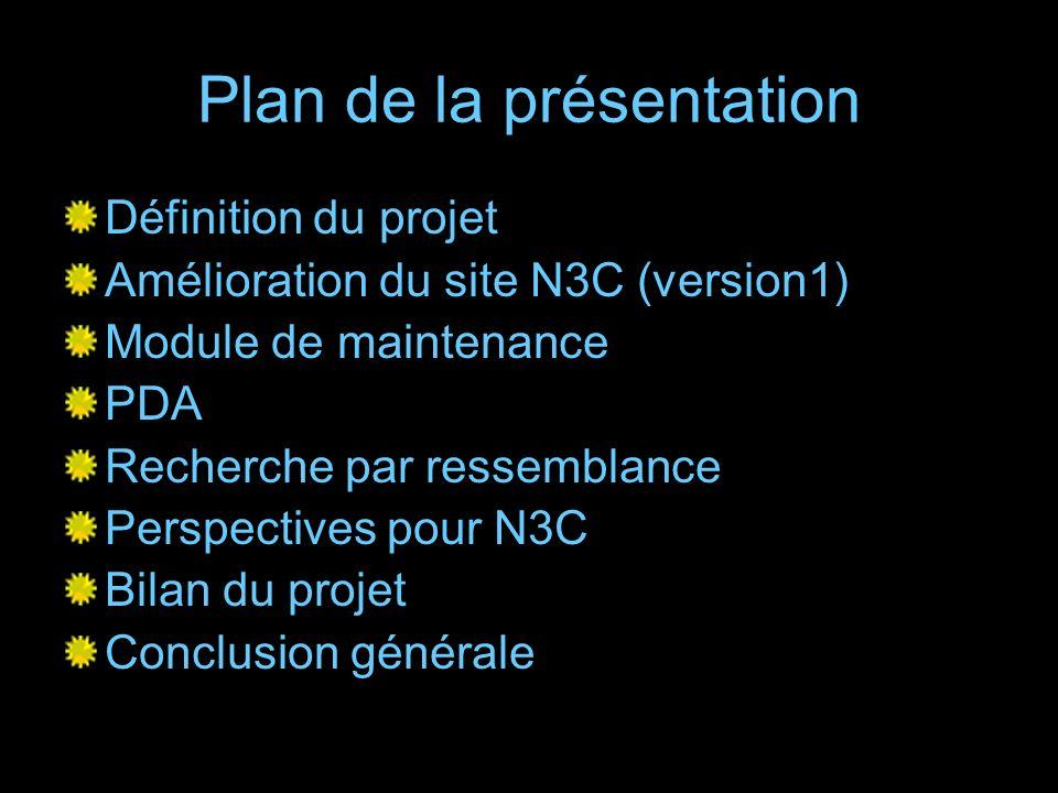Plan de la présentation Définition du projet Amélioration du site N3C (version1) Module de maintenance PDA Recherche par ressemblance Perspectives pou