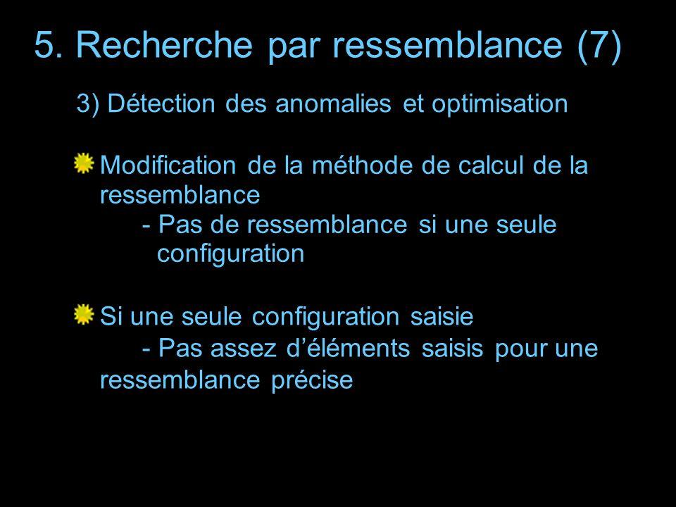 5. Recherche par ressemblance (7) Modification de la méthode de calcul de la ressemblance - Pas de ressemblance si une seule configuration Si une seul