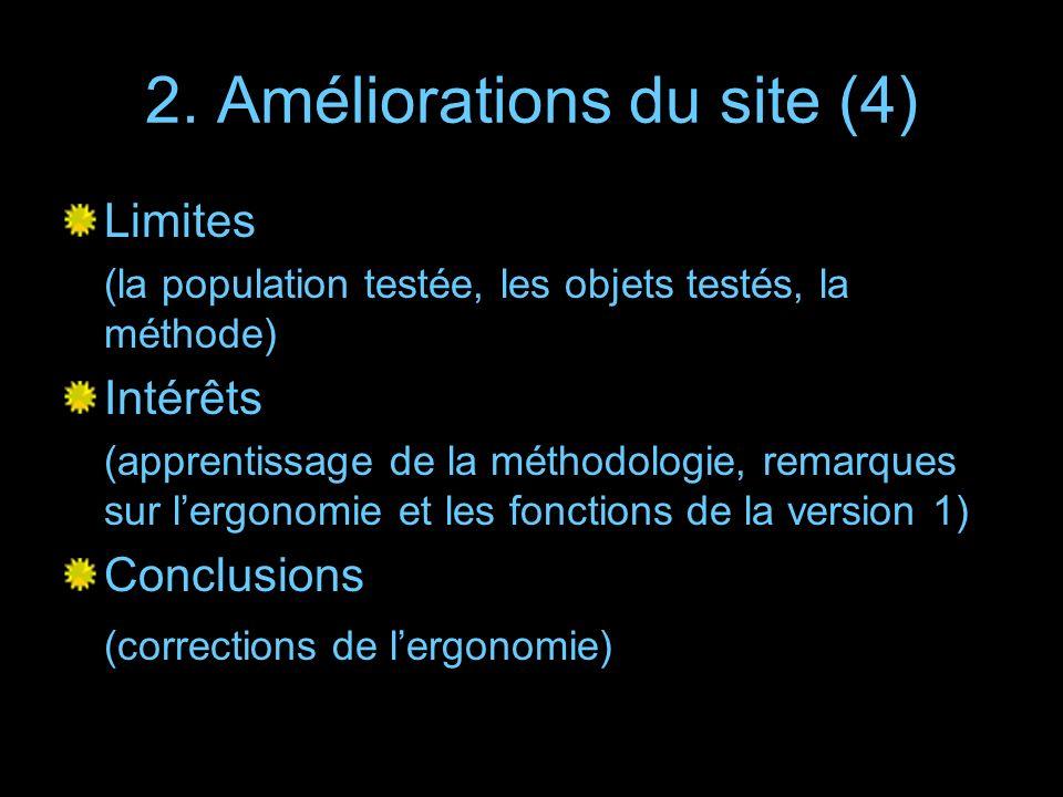 2. Améliorations du site (4) Limites (la population testée, les objets testés, la méthode) Intérêts (apprentissage de la méthodologie, remarques sur l