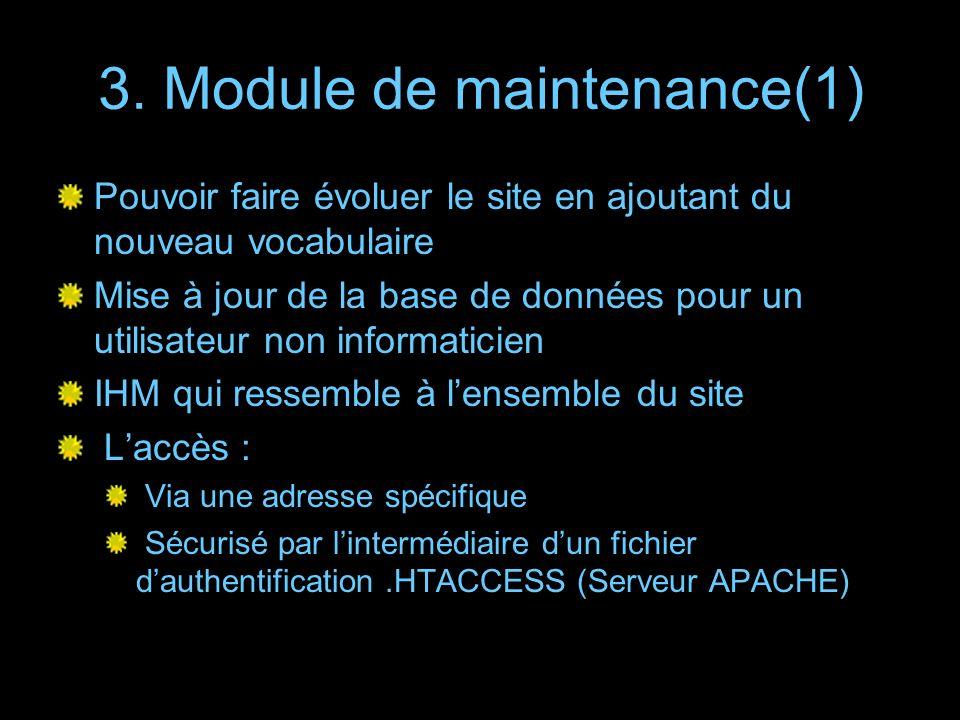 3. Module de maintenance(1) Pouvoir faire évoluer le site en ajoutant du nouveau vocabulaire Mise à jour de la base de données pour un utilisateur non