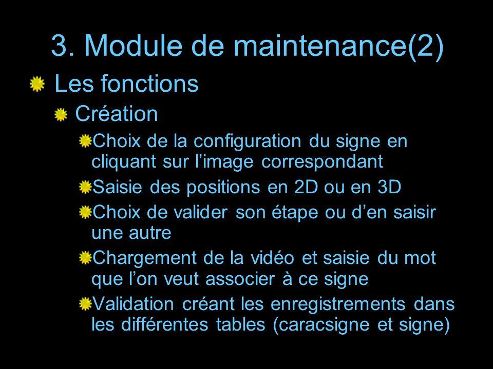 3. Module de maintenance(2) Les fonctions Création Choix de la configuration du signe en cliquant sur limage correspondant Saisie des positions en 2D